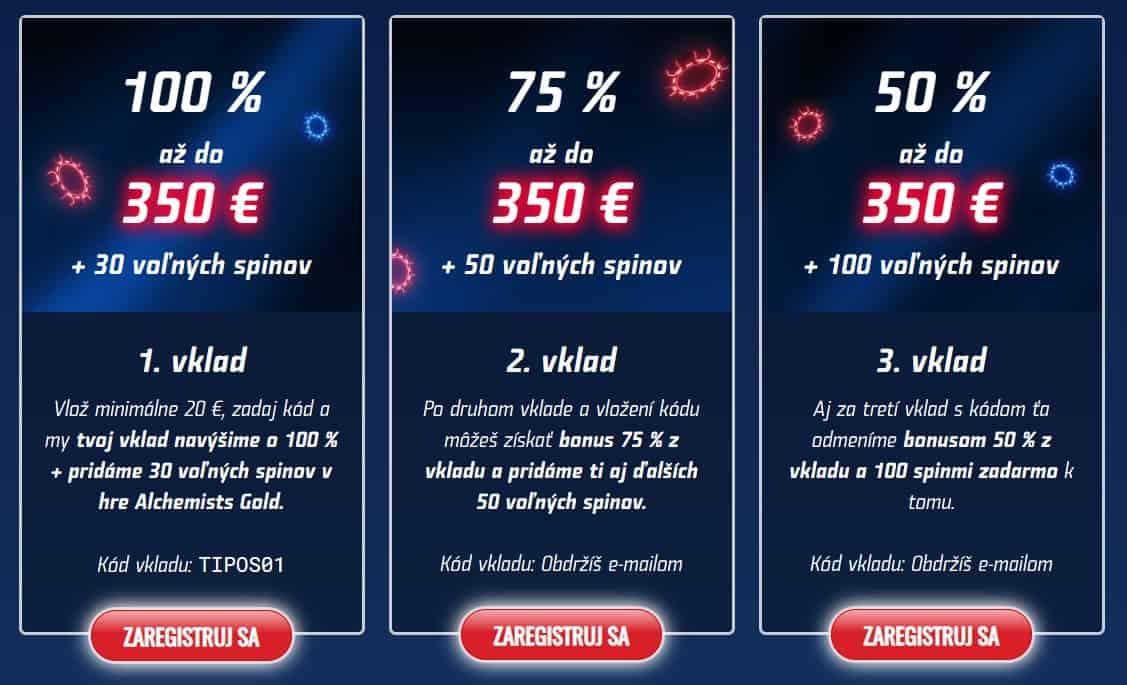 eTIPOS kasíno bonus 2019