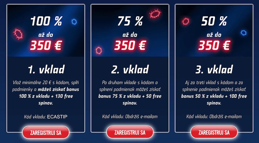 eTIPOS kasíno vstupný bonus až 1050 € + free spiny