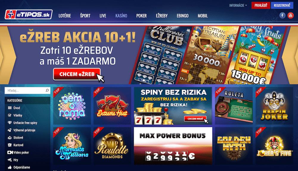 Online kasíno eTIPOS ukážka lobby