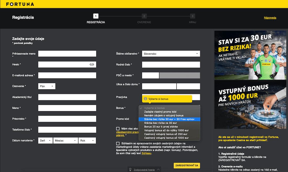 Fortuna registrácia výber bonusu