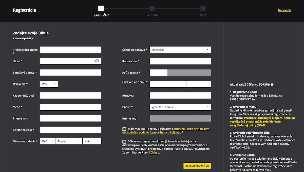 Fortuna registrácia