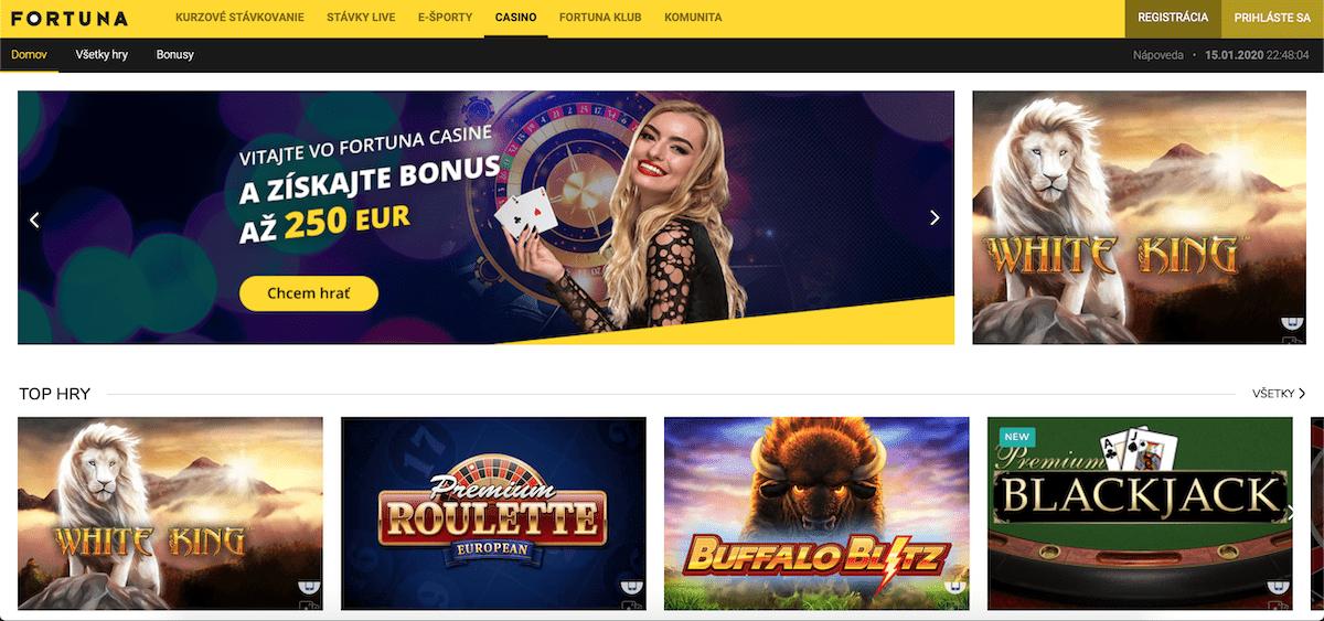 Fortuna online kasíno Vegas lobby ukážka