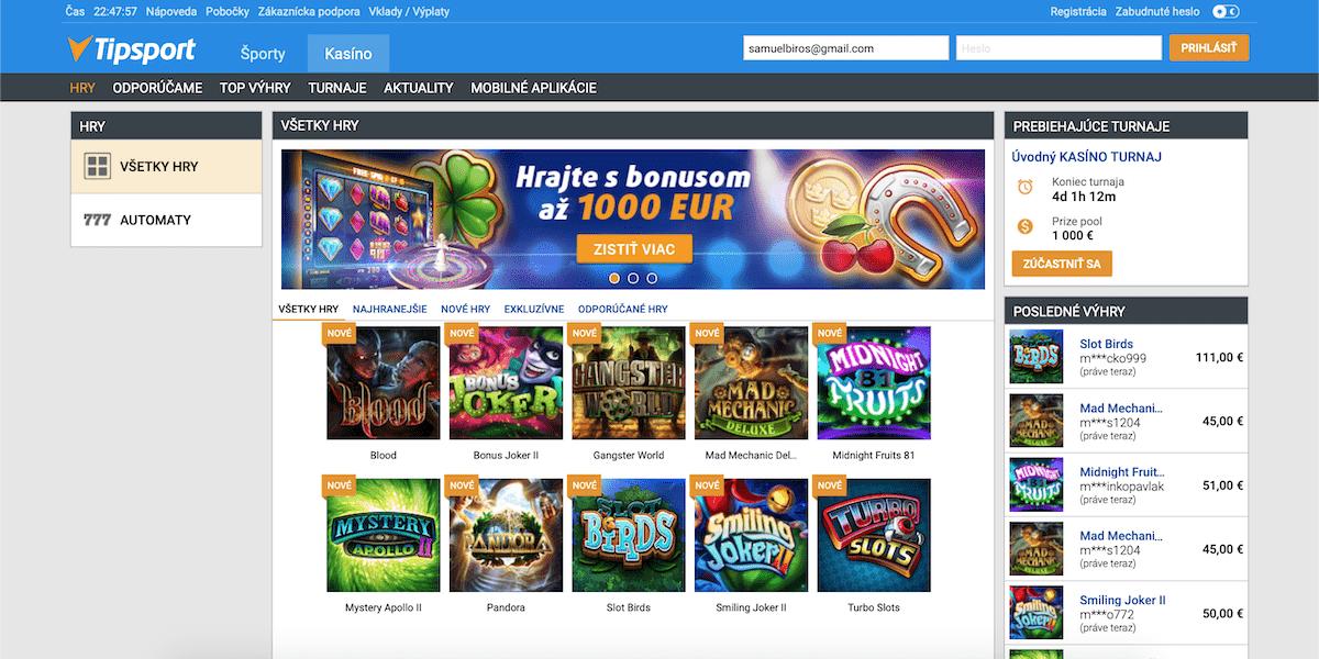 Tipsport Vegas online kasíno lobby ukážka