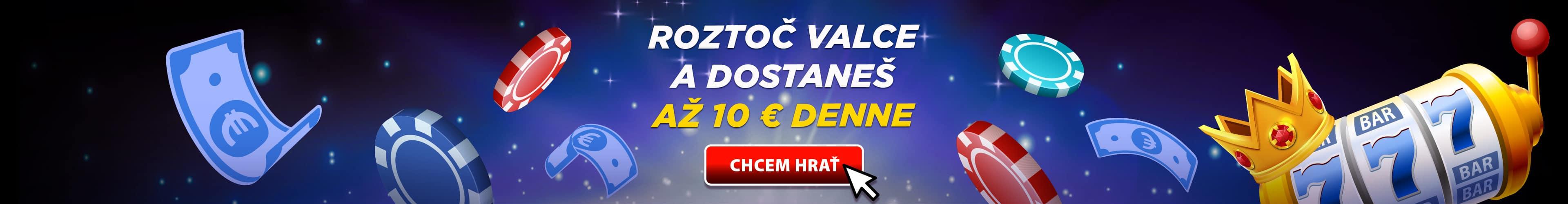 Roztočte valce a dostanete 10 Eur denne od eTIPOS.sk