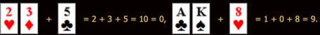 Baccarat kombinácie kariet 3