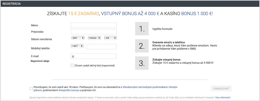 Tipsport Kasíno registračný formulár