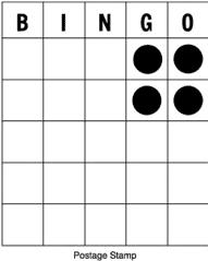 Bingo - kombinácia Poštová známka