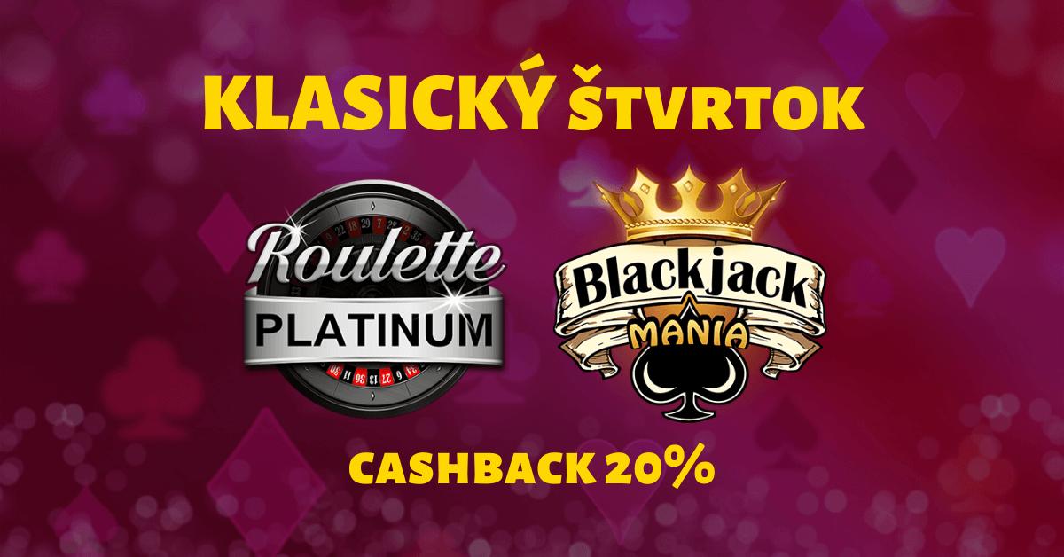 Klasický štvrtok s blackjackom a ruletou v SynotTIP Casino