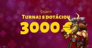Štvrtý kasínový turnaj s dotáciou 3000 € v SynotTIP Casino