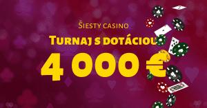 Šiesty kasíno turnaj s dotáciou až 4000 € v SynotTIP Casino