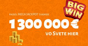 Slovensko má nového milionára, v Niké Svet hier padol MEGA JACKPOT takmer 1 300 000 €