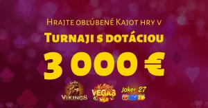 Hrajte štvrtý turnaj v tomto roku v SYNOTtip Casino s dotáciou 3000 €