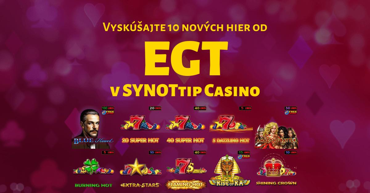 V SYNOTtip Casino je už 100 hier, vyskúšajte nové EGT automaty