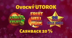 Ovocný utorok v SYNOTtip Casino - cashback 20%