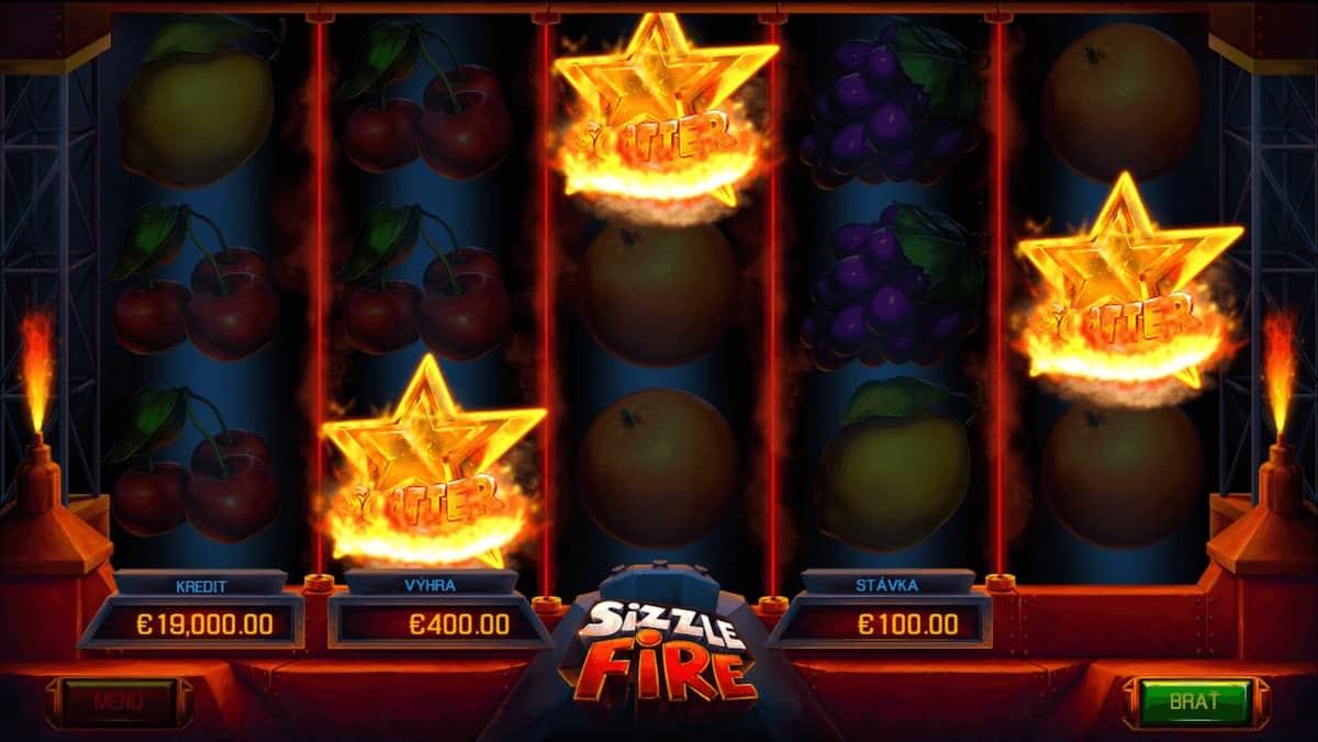 Automat Sizzle Fire - výhra zo Scatter symbolov
