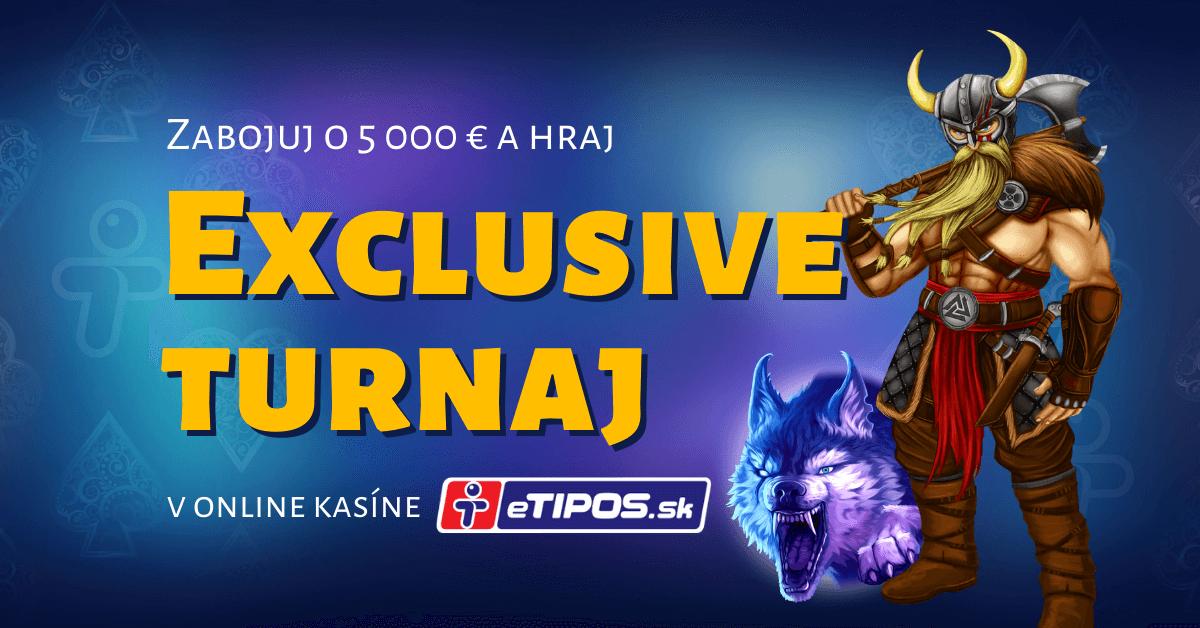 Hrajte Exclusive turnaj o 5000 € v najlepších Kajot automatoch v kasíne eTIPOS