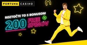Vstupný bonus 200 free spinov vo Fortuna Casino