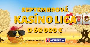 Septembrová Kasíno liga o 60 000 € v eTIPOS kasíne