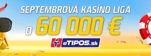 Septembrová kasíno liga v eTIPOS.sk - promoakcia dňa